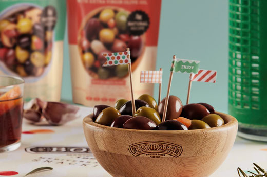 Packaging design for Borges International olives premium colorful doypack