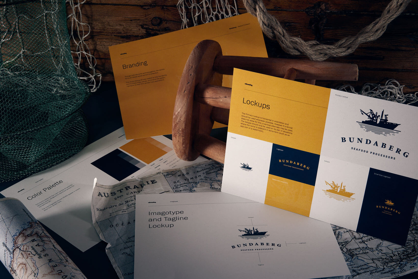 Packaging and branding design for seafood products corporate identity logotype